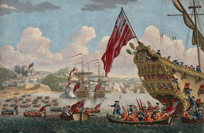 A view of the landing of the New England Forces against Cape Breton
